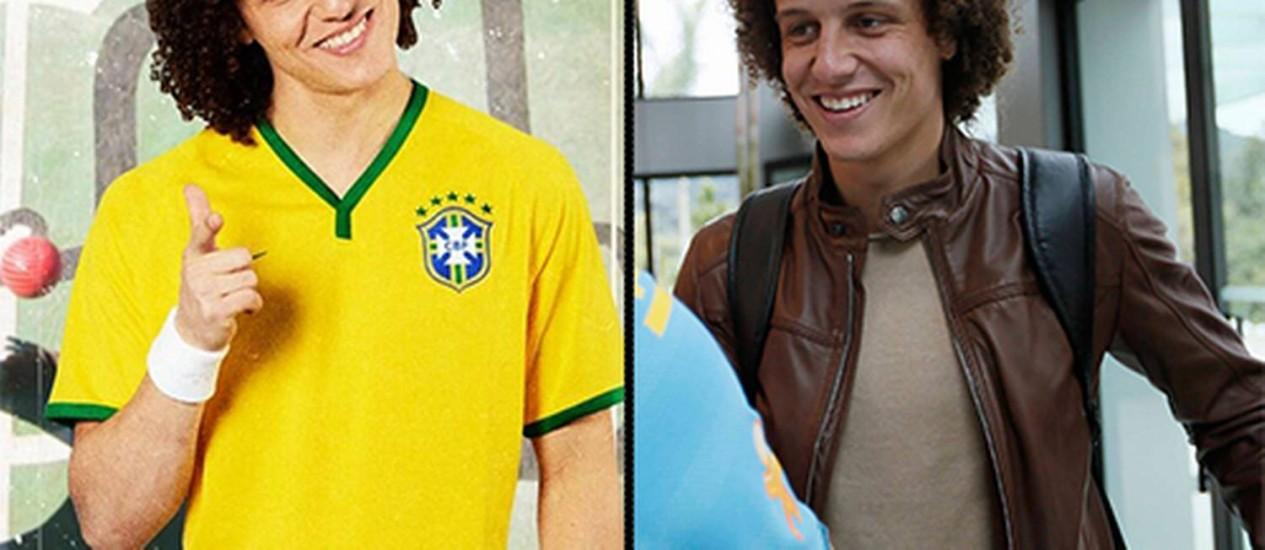 David Luiz antes e depois do corte de cabelo Foto: Divulgação