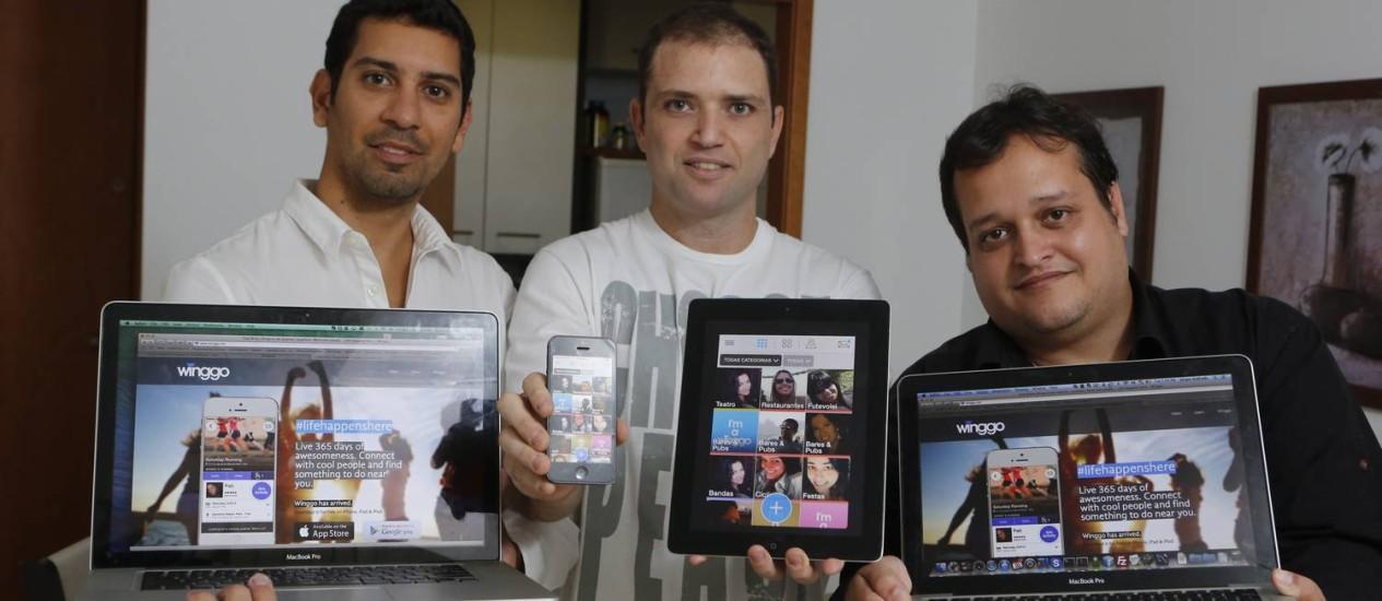 Aplicativo Winggo - Rafael Granato, Erick Bazarello e Sergio Andrade desenvolveram o aplicativo que tem como proposta conectar pessoas com os mesmos interesses Foto: Felipe Hanower