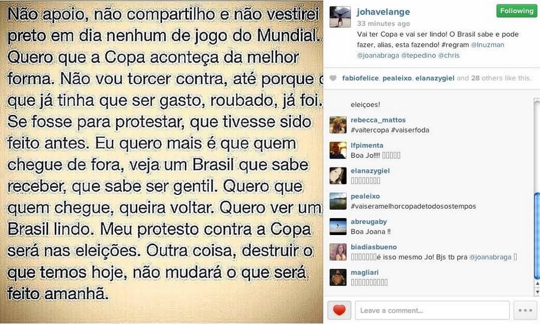 Joana Havelange posta comentário polêmico em rede social Foto: Reprodução Instagram