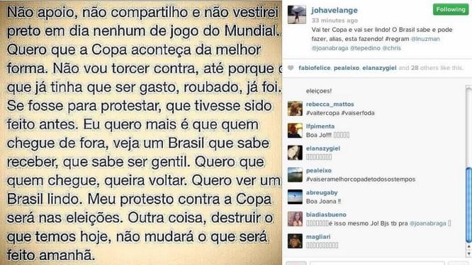 Joana Havelange compartilha texto que, segundo o COL, circulava nas redes sociais Foto: Reprodução Instagram