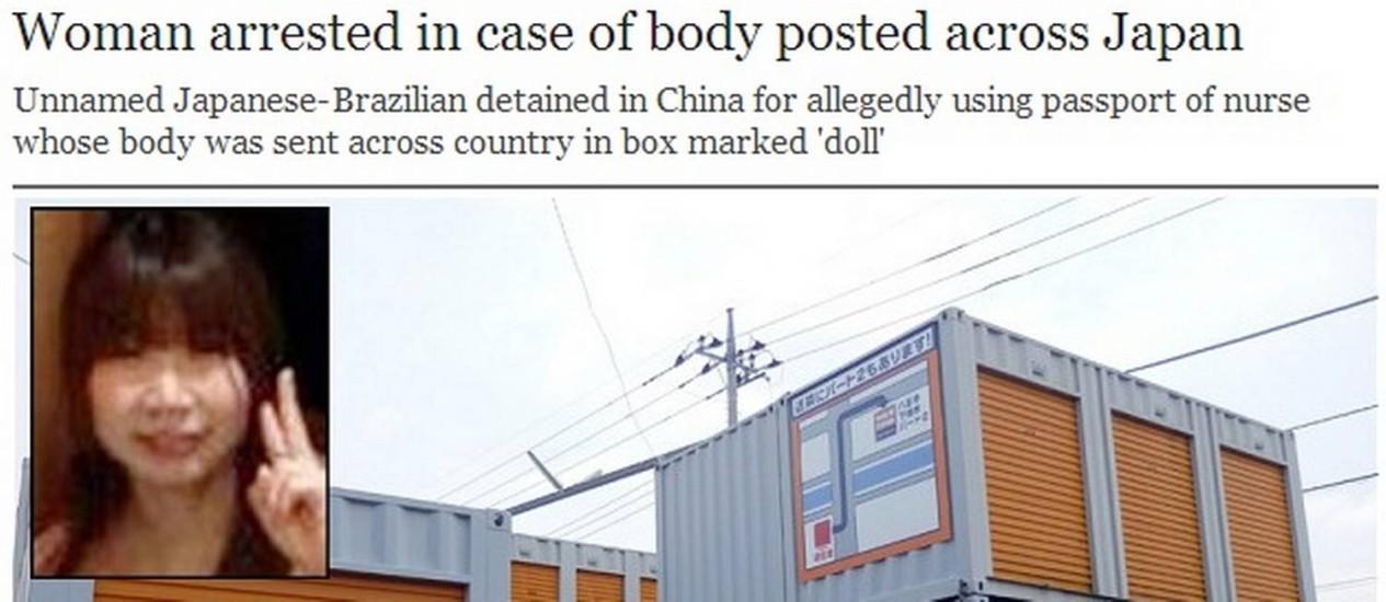 O site do jornal britânico The Telegraph destada o crime no Japão Foto: Reprodução