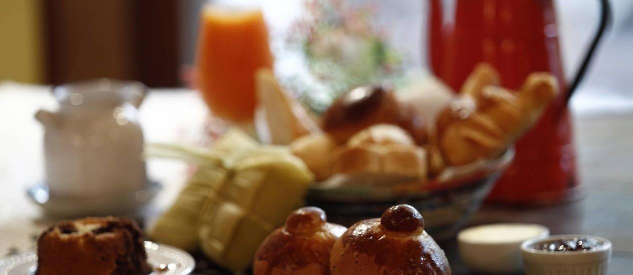 """Uma das saborosas combinações de café da manhã do """"Da Casa da Táta"""" Foto: Guilherme leporace / Agência O Globo"""