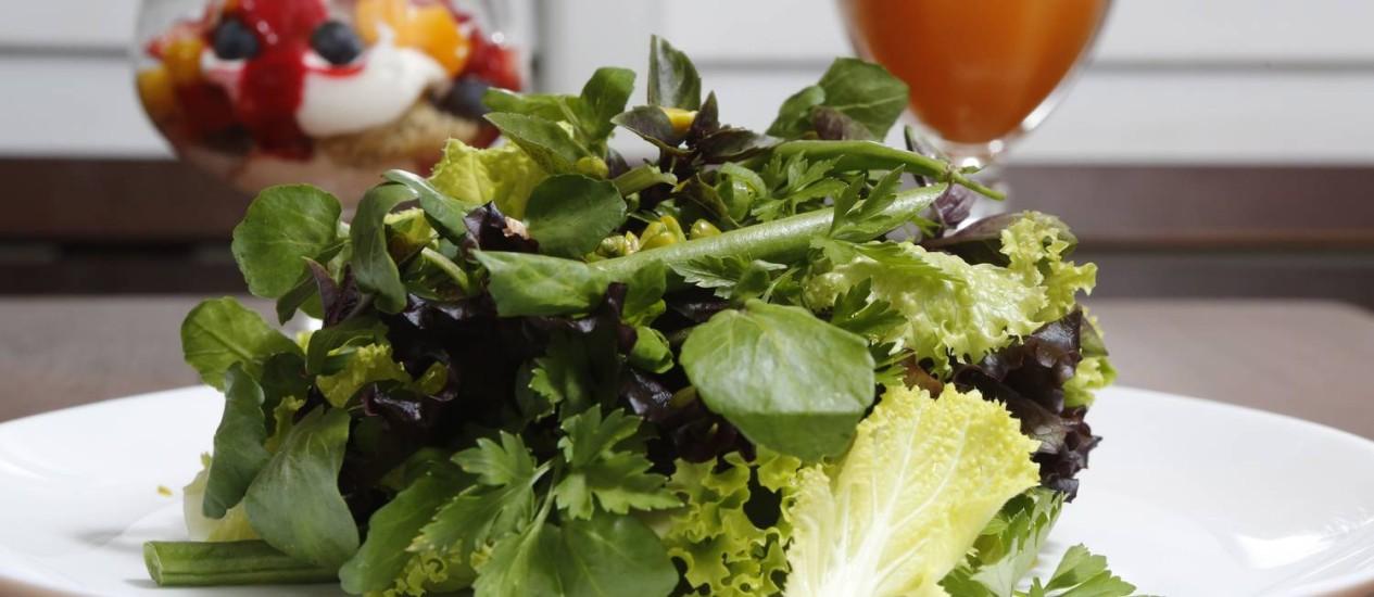 Um prato com a cara do Celeiro: comida orgânica e leve todos os dias Foto: Felipe Hanower / Agência O Globo