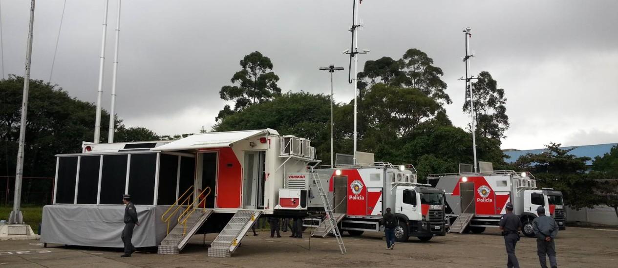 A PM terá cinco carretas com uma central de monitoramento exclusivas de eventos da Copa em São Paulo, equipadas inclusive com câmeras infravermelhas Foto: Leonardo Guandeline