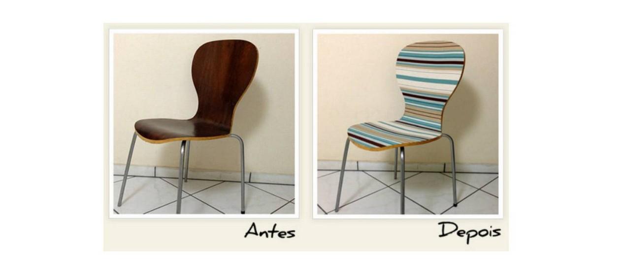 A cadeira de madeira antes e depois com o tecido Foto: Homens da Casa