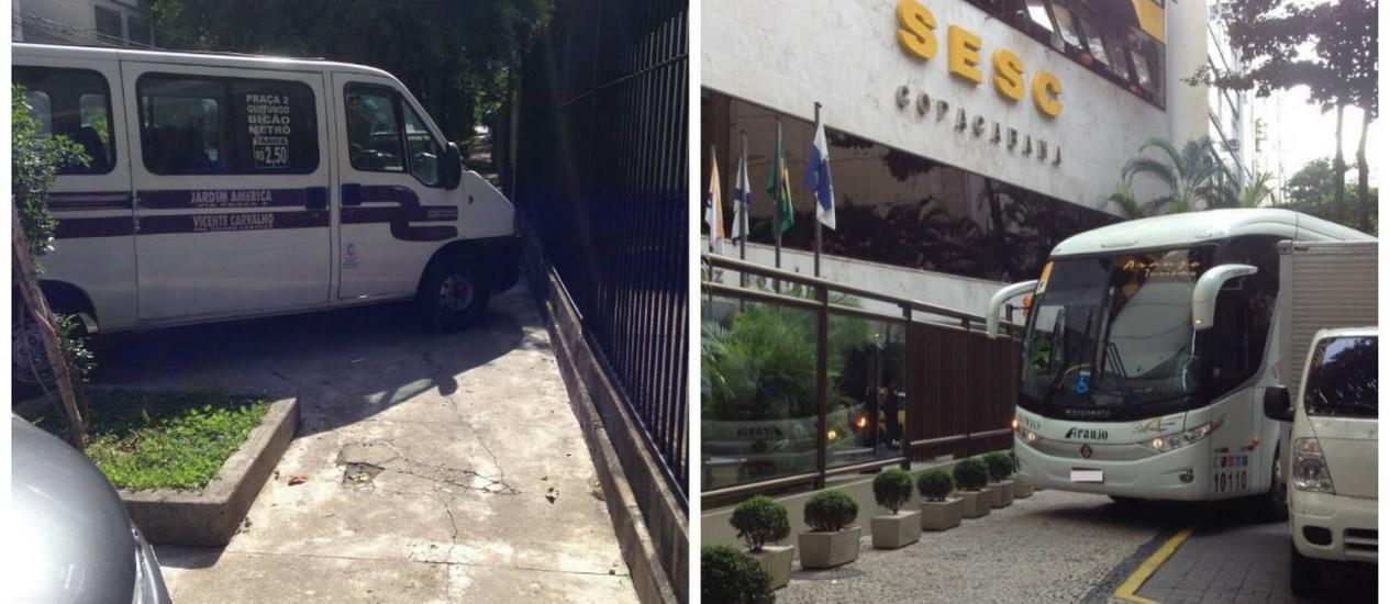 Flagrantes de estacionamento proibido no Grajaú (à esq.) e em Copacabana (à dir.) Foto: Fotos dos leitores Marcelo Horta e Marcelo Antunez / Eu-Repórter