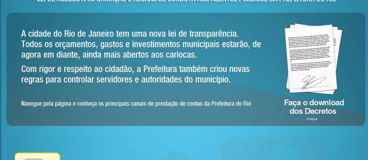 O portal do Rio de Janeiro está entre os piores do Brasil, segundo levantamento. Foto: Transparência Carioca / Reprodução