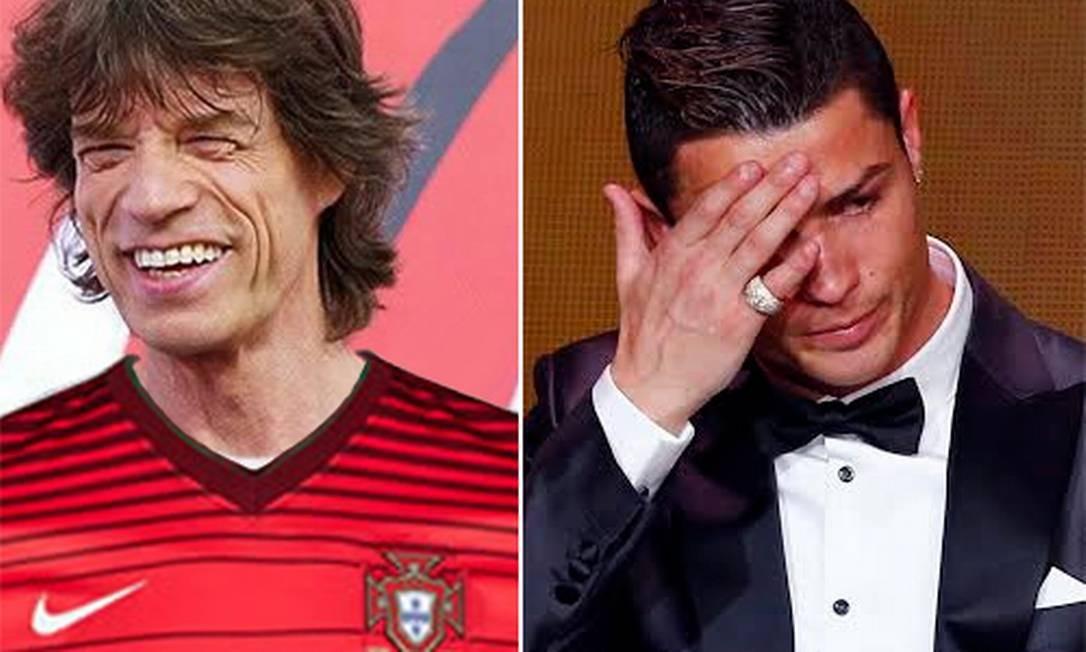 Montagem ironiza Mick Jagger com camisa de Portugal, enquanto Cristiano Ronaldo lamenta a torcida Foto: Reprodução