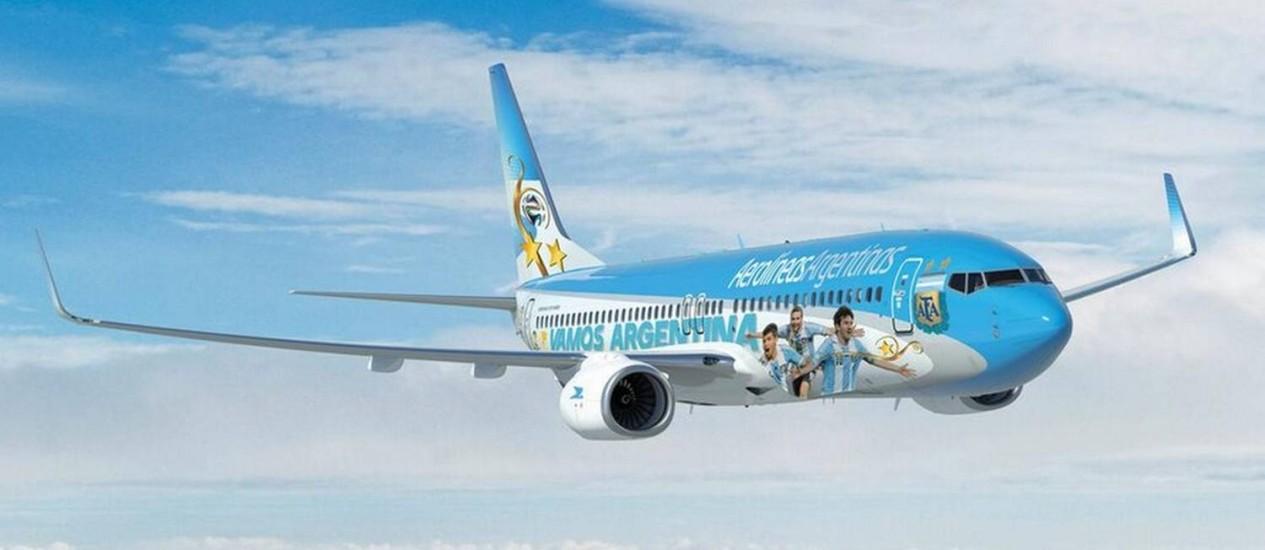 Jogadores argentinos viajarão pelo Brasil com aeronave da Aerolíneas Argentinas Foto: Reprodução Twitter