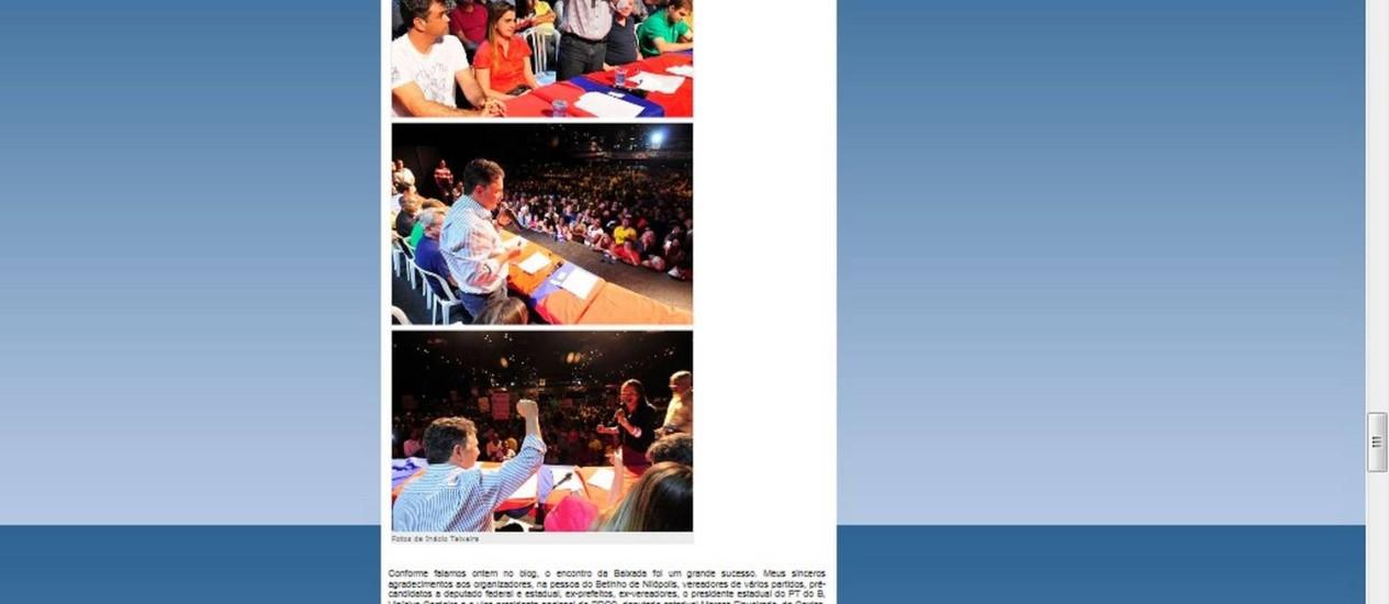 Texto a ser retirado do ar pelo deputado federal, Anthony Garotinho Foto: Reprodução / Blog do Garotinho