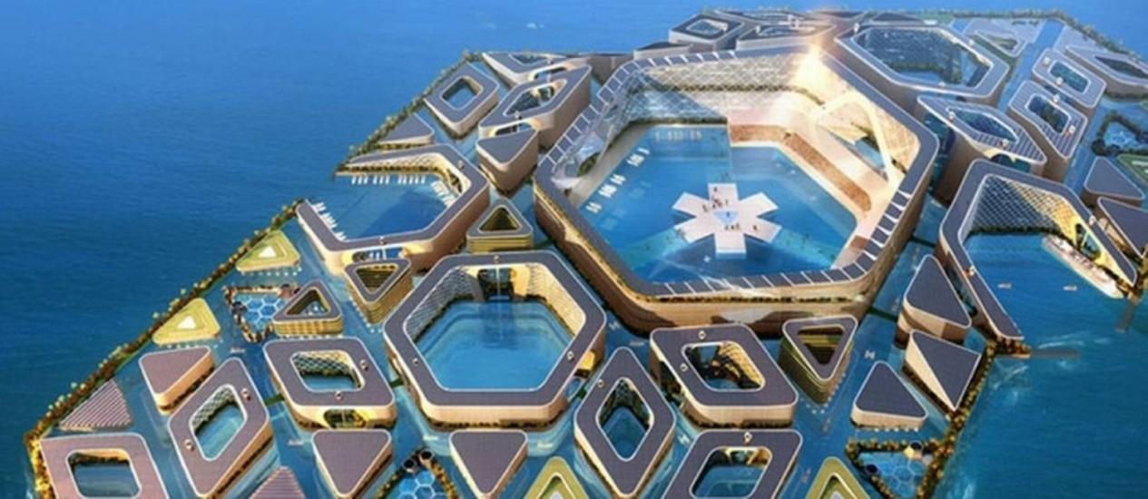 Estrutura da cidade flutuante, proposta por empresa chinesa, seria composta por peças hexagonais, montadas como um quebra-cabeças Foto: REPRODUÇÃO