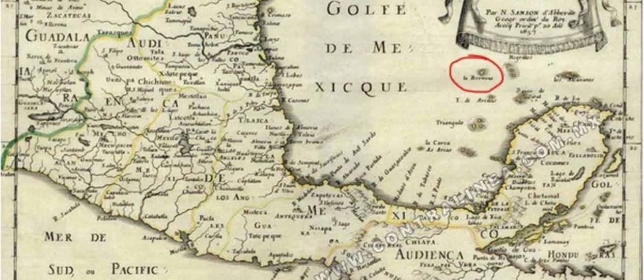 Mapa indica a localização de Bermeja. Em algumas cartas, a ilha aparece acompanhada por um ponto de interrogação Foto: Reprodução