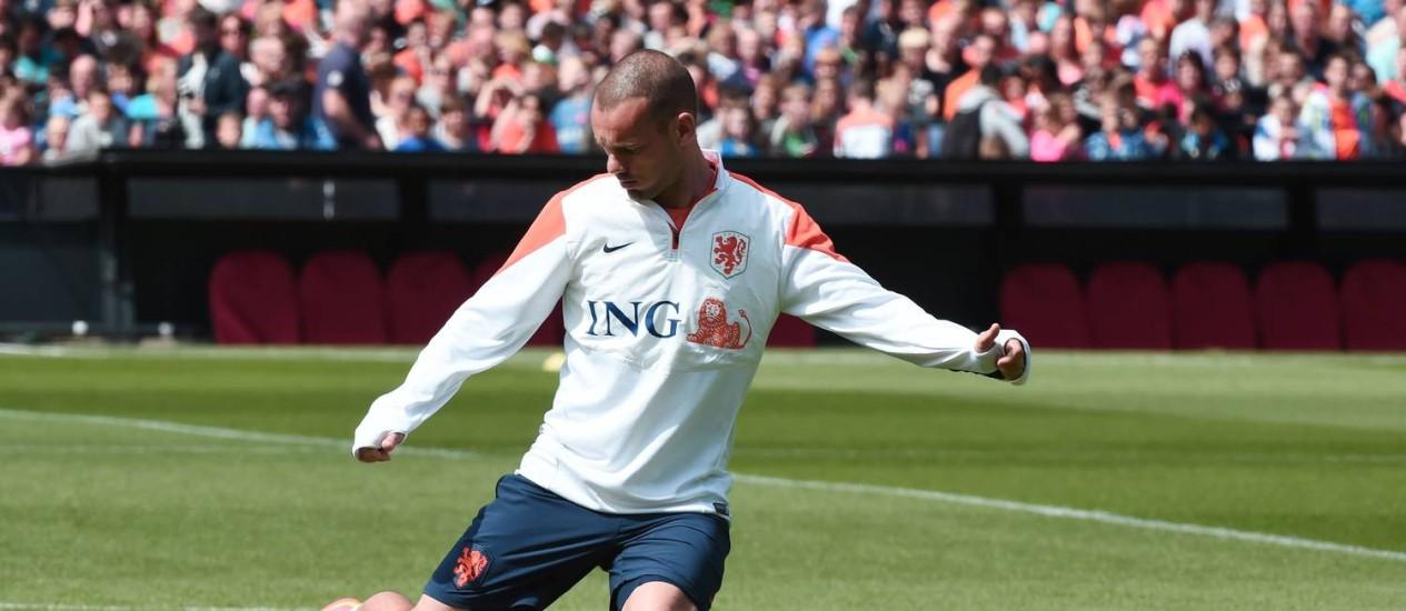 Sneijder é um dos principais jogadores da seleção holandesa Foto: Damien Meyer / AFP