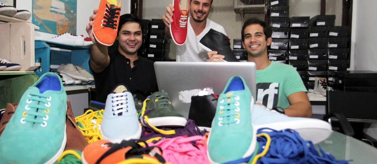 Os Empresários do ramo de calçados de tenis, Vinicius Matteo, Miquel Marinho e Gabriel Lira Foto: Ailton de Freitas