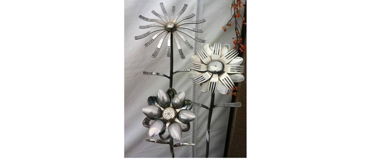 Flores para decoração a partir de colheres e garfos Foto: reprodução da internet