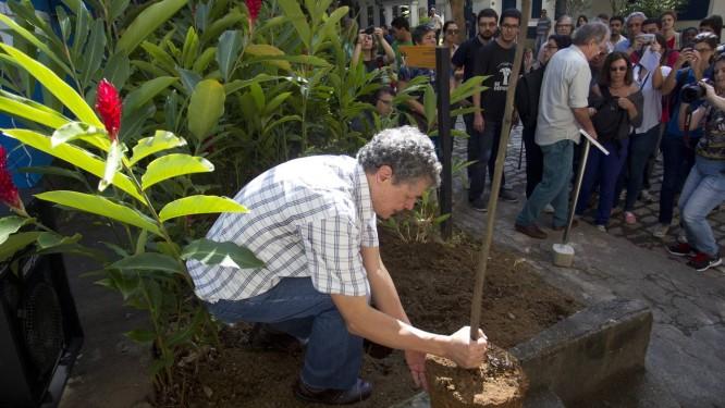 Miguel Nin Ferreira planta árvore em homenagem ao irmão Raul Amaro Nin Ferreira, na PUC-Rio Foto: Márcia Foletto / Agência O Globo