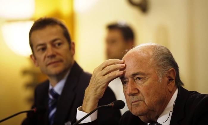 Presidente da Fifa, Joseph Blatter, durante conferência em Jerusalém Foto: RONEN ZVULUN / REUTERS