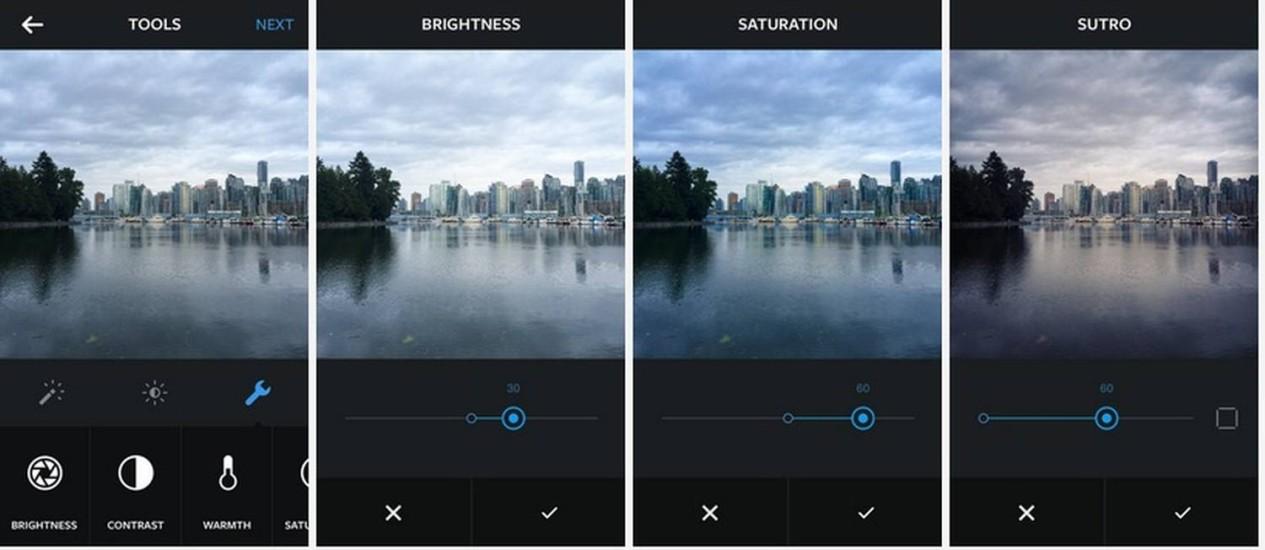Exemplo das novas ferramentas de edição do Instagram Foto: REPRODUÇÃO