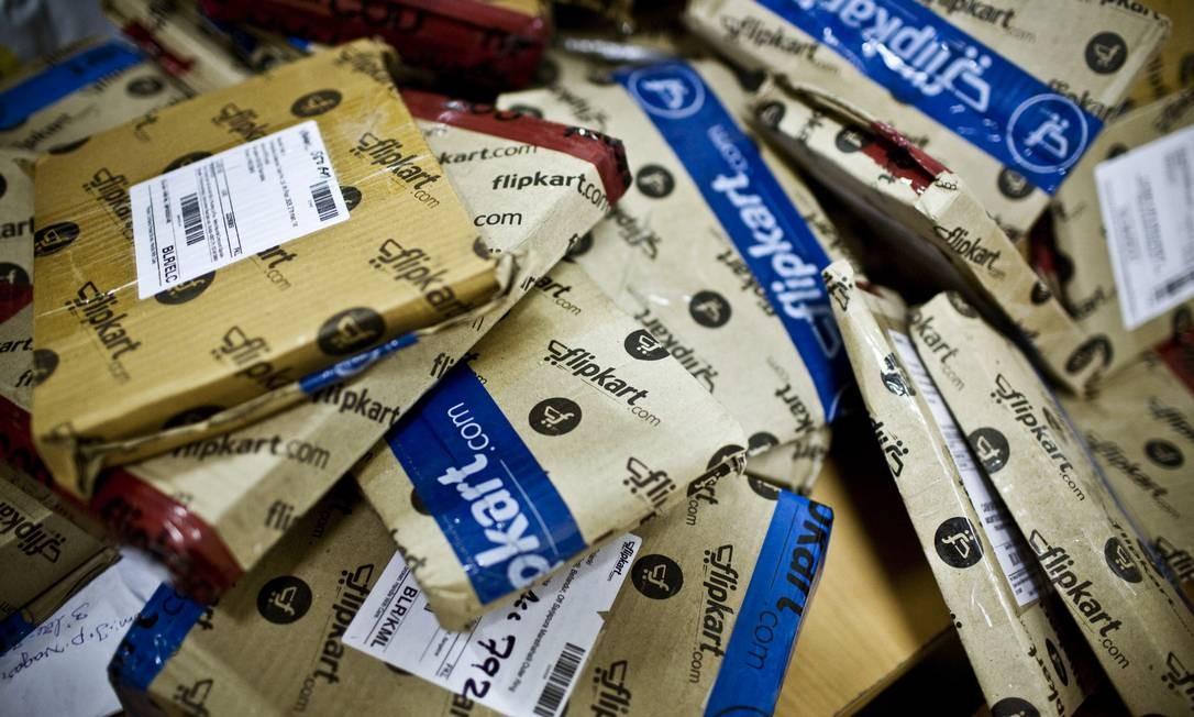 Estoque em um centro de distribuição da Amazon, na Índia Foto: / Kainaz Amaria/The New York Times