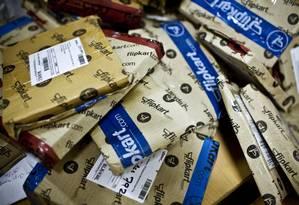 Estoque em um centro de distribuição da Amazon, na Índia Foto: Kainaz Amaria/The New York Times