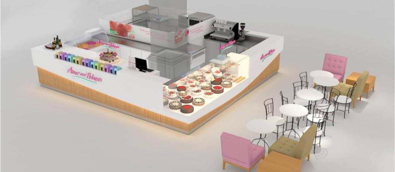 A unidade em formato quiosque da Amor aos Pedaços, com 20m², será lançada na feira da ABF Foto: Divulgação