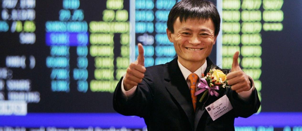 Jack Ma, fundador do Alibaba: para dar sorte, oferta inicial de ações nos EUA deve ser em agosto Foto: Kin Cheung / AP