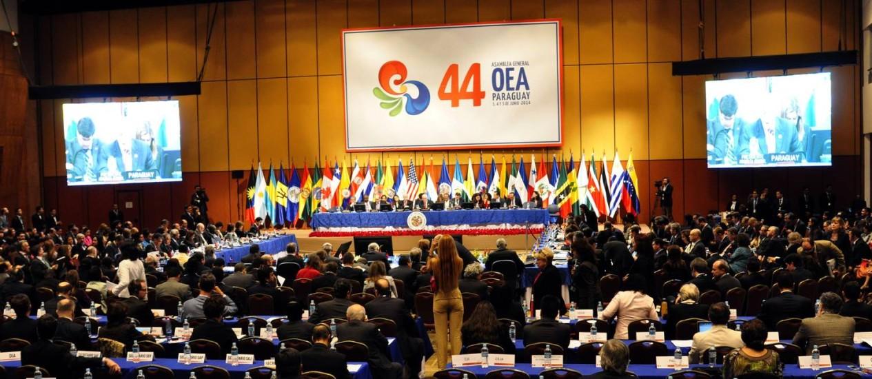 Reunião da 44ª reunião da Assembleia Geral da Organização dos Estados Americanos, em Luque, nas cercanias da capital paraguaia, Assunção Foto: NORBERTO DUARTE / AFP