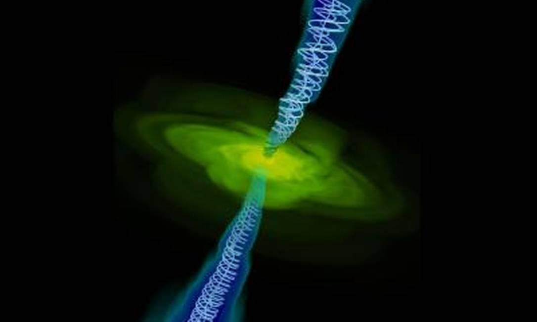 Simulação de computador mostra gás (em amarelo) sendo sugado por buraco negro, como os campos magnéticos gerados perpendiculares em azul Foto: Alexander Tchekhovskoy/Berkeley Lab