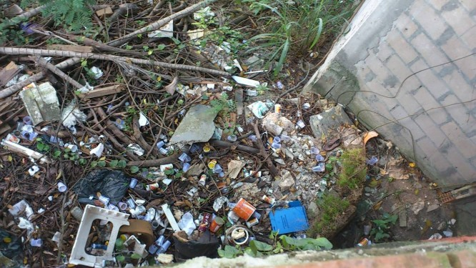 Lixo fica acumulado em terreno na Rua Joaquim Murtinho, em Santa Teresa Foto: Leitor Rufino Almeida / Eu-Repórter