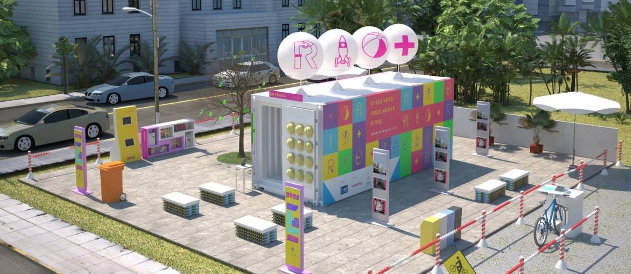 Container do Rio+, onde os cariocas puderam votar em projetos que melhorariam a vida na cidade Foto: Divulgação