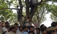 Indianos cercam a árvore onde duas adolescentes estupradas foram enforcadas: mulheres de castas mais baixas são as vítimas mais frequentes