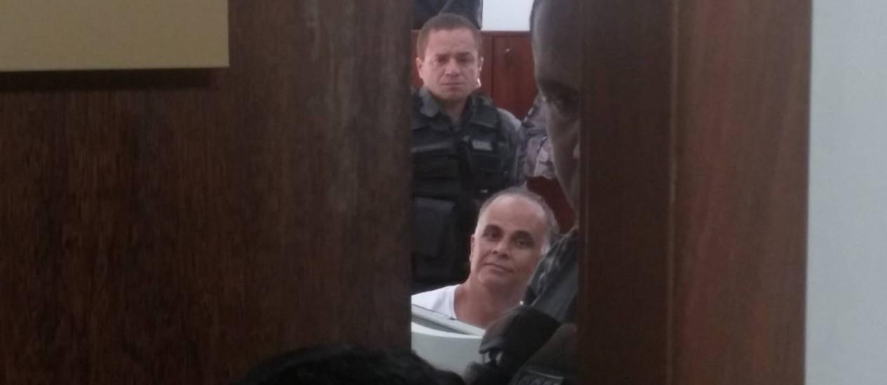 Marcos Valério, flagrado durante julgamento em Belo Horizonte: em alguns momentos, mensaleiro esboçou sorrisos Foto: Ezequiel Fagundes