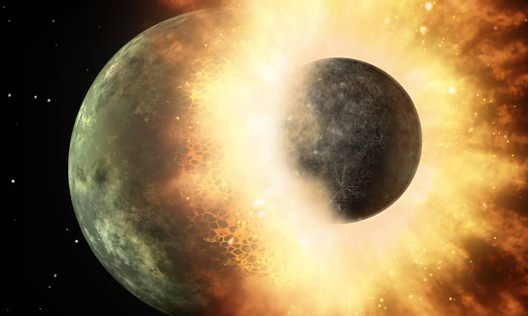 Ilustração da Nasa mostra o choque de dois corpos planetários, em acontecimento semelhante à colisão que acredita-se ter dado à Terra sua Lua Foto: Nasa