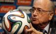 O presidente da Fifa, Joseph Blatter, durante coletiva nesta quinta-feira