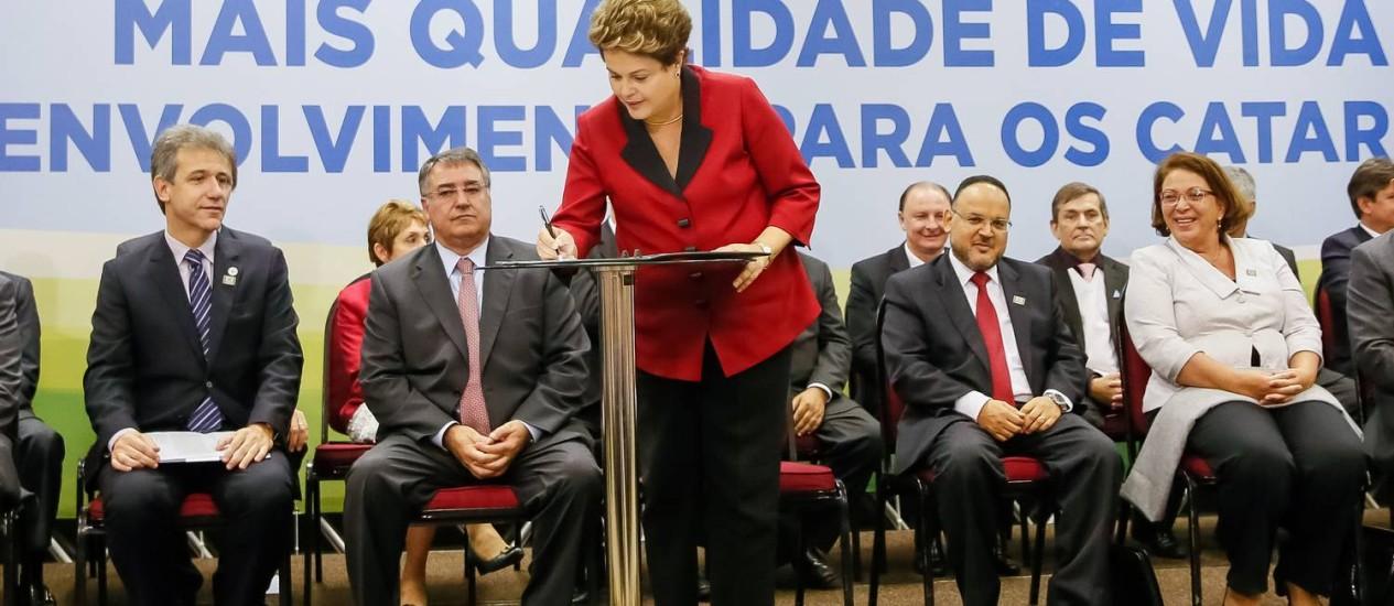 Presidenta Dilma Rousseff durante cerimônia de anúncios para o estado de Santa Catarina Foto: Roberto Stuckert Filho/PR / Roberto Stuckert Filho/PR