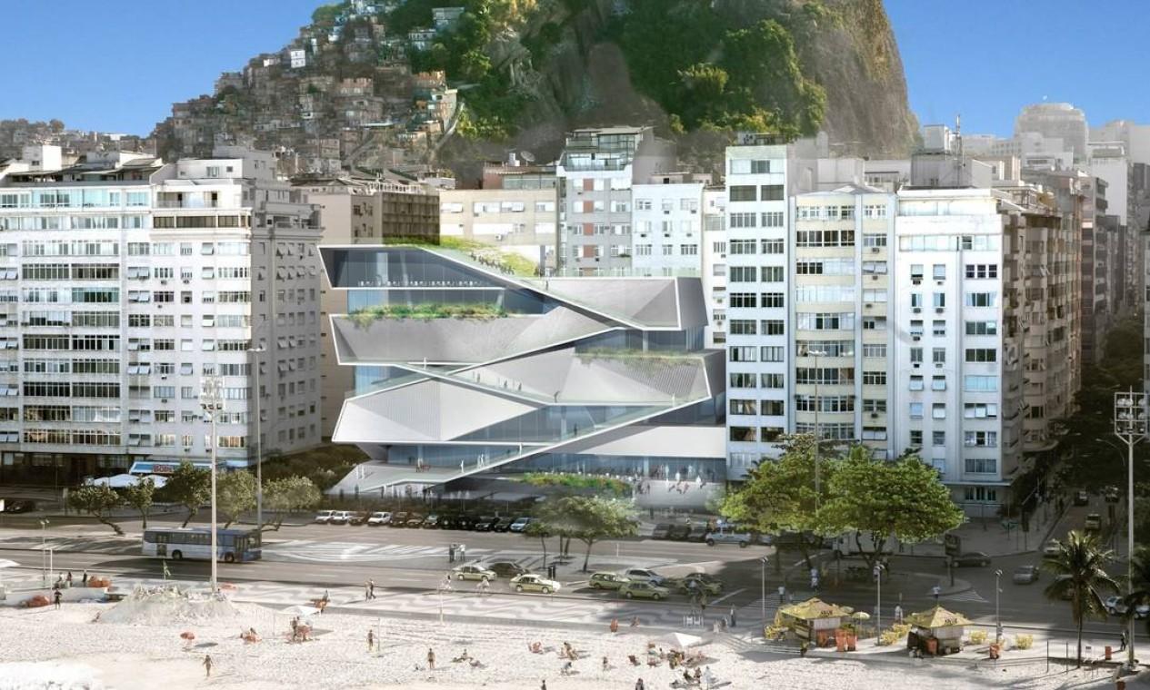 Ilustração mostra como será a fachada do Museu da Imagem e do Som, em Copacabana Foto: Divulgação