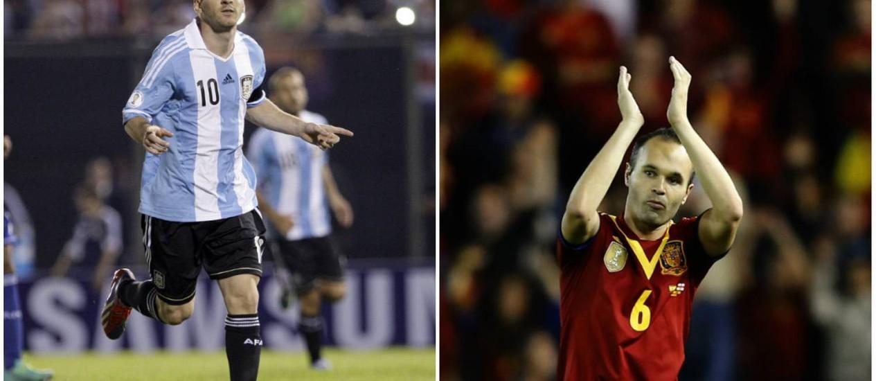Messi e Iniesta entram em campo neste sábado Foto: Montagem/Agência O GLOBO / Fotos AFP
