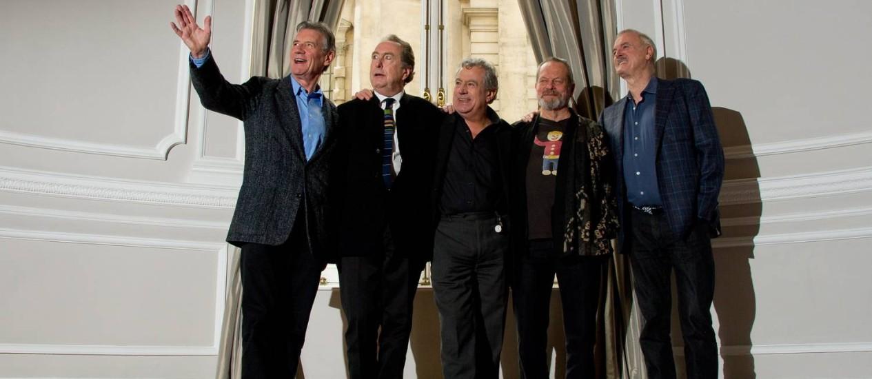 Monty Python reunido: Michael Palin, Eric Idle, Terry Jones, Terry Gilliam e John Cleese Foto: LEON NEAL / AFP