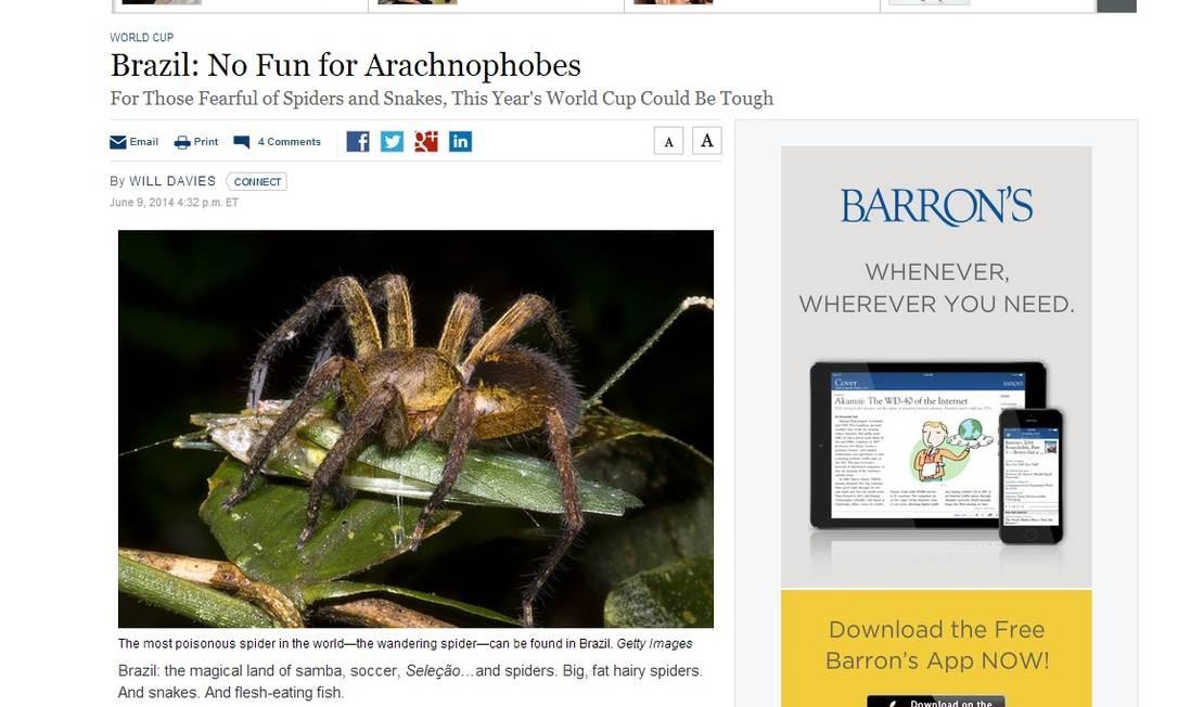 Jornal americano dá alerta; Brasil não é um bom país para quem tem algumas fobias Foto: Reprodução /