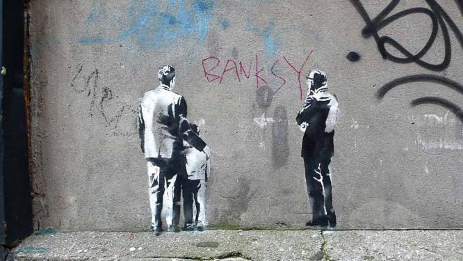 Obra de Banksy, publicada no site do artista, um dia antes de mostra não-autorizada na Sotheby's, em Londres Foto: Divulgação