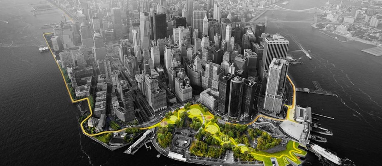 O projeto de barreira viva para a ilha de Manhattan, do BIG Foto: Divulgação