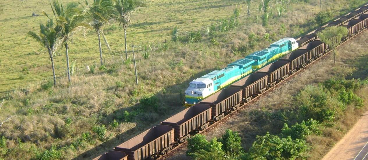 Megatrem da Estrada de Ferro Carajás, no Pará Foto: Agência Vale