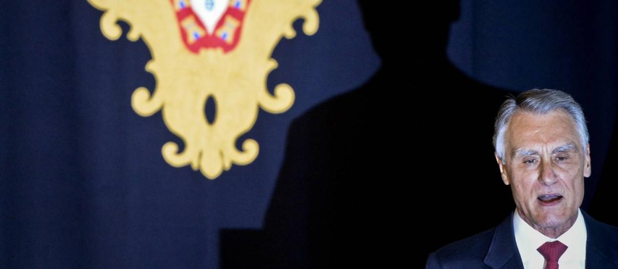O presidente português, Anibal Cavaco Silva durante cerimônia no último dia 5 de junho Foto: AFP