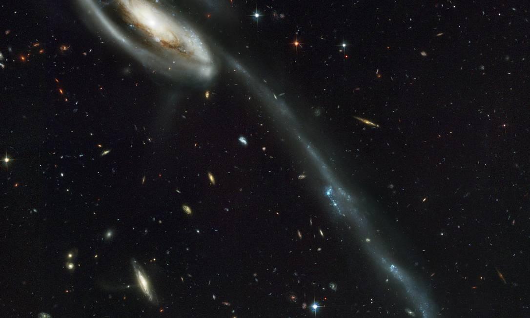 """Imagem do telescópio espacial Hubble mostra a galáxia do """"Girino"""", um exemplo do tipo de interação c´somica que o grupo de astrofísicos diz provavelmente ter formado as galáxias-satélite da Via Láctea e de sua vizinha Andrômeda Foto: Nasa/ESA"""