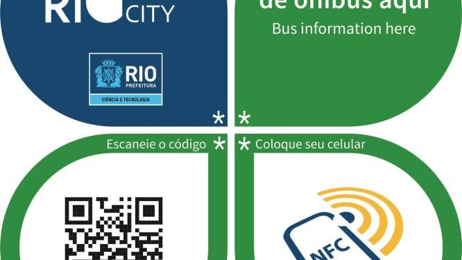 Adesivo inteligente será instalado em cinco mil pontos e terá informações em três idiomas Foto: Divulgação/Secretaria de Ciência e Tecnologia da Cidade do Rio de Janeiro