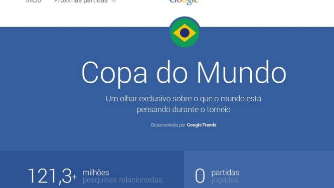 Página especial da Google com estatísticas sobre a Copa Foto: REPRODUÇÃO