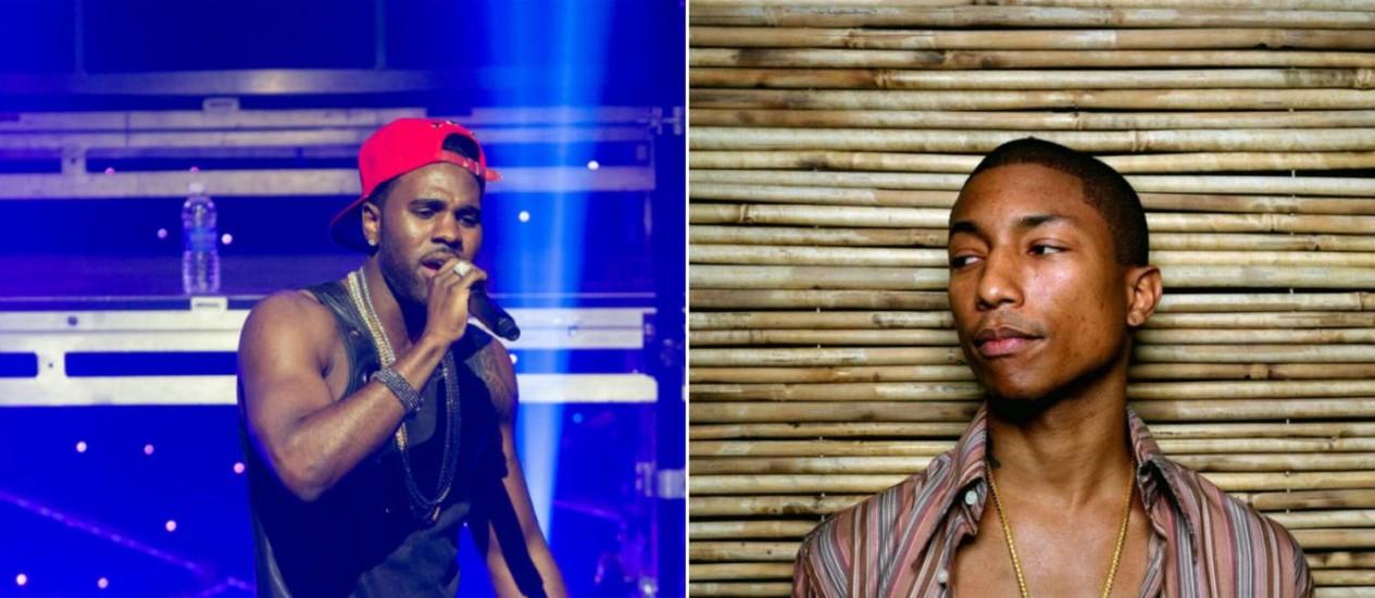 Jason Derulo e Pharrel: estilos bem diferentes na hora de compor seus hits Foto: Divulgação