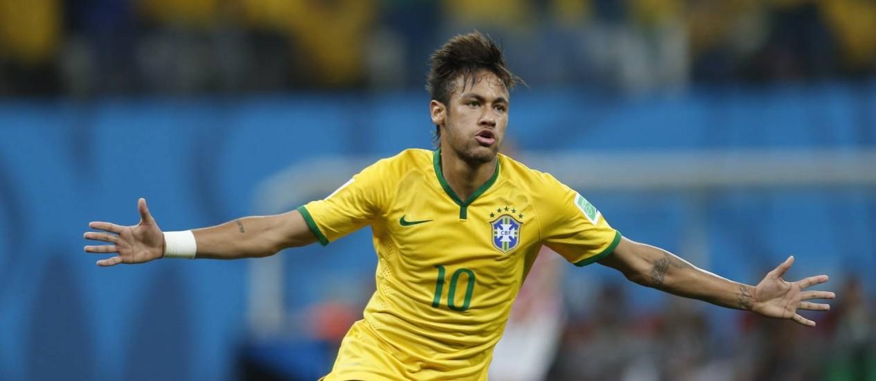Neymar: dois gols e melhor jogador em campo na sua estreia em Copa do Mundo Foto: Alexandre Cassiano