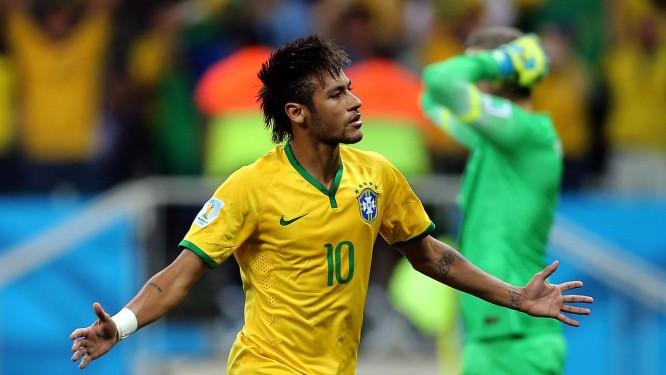 Neymar marcou duas vezes, ambas na estreia, contra a Croácia Foto: Jefferson Bernardes / Jefferson Bernardes