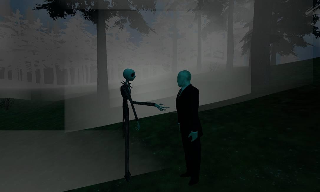 Em fan arts, internautas promoveram encontros do Slenderman com outros personagens, como o Jack Skellington de Tim Burton Foto: Reprodução
